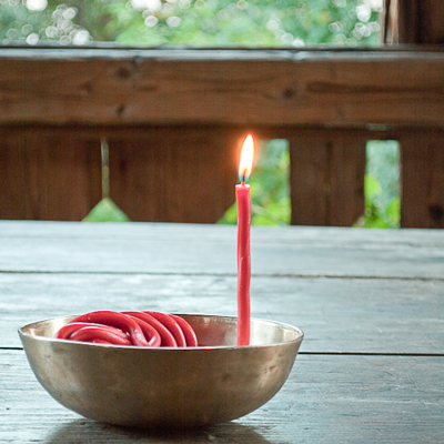 In all Buddhist traditions, butter lamps are lit at religious ceremonies to fulfill good wishes